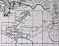 Map Showing Route from Britain to West Indies